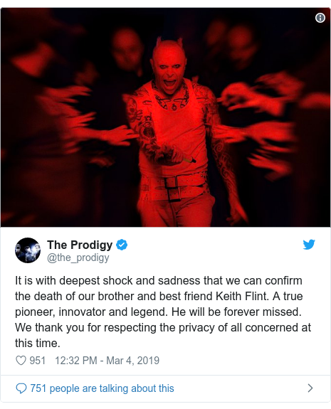 Tweet from The Prodigy Keith Flint suicide