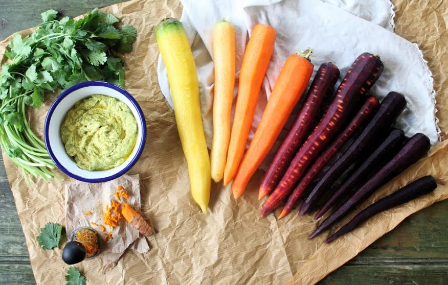 RECIPE: Fresh Hummus with Rainbow Carrots